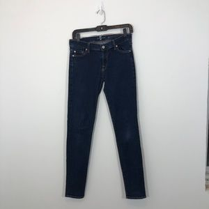 7 For All Mankind medium wash skinny jeans